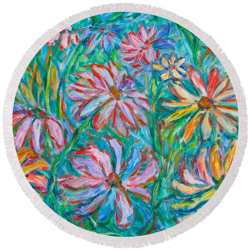 Impressionist Round Beach Towel featuring the painting Swirling Color by Kendall Kessler