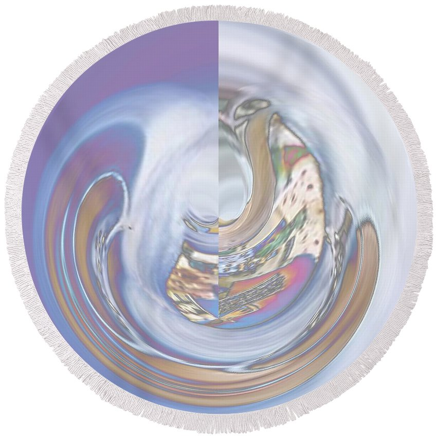 Vortex Round Beach Towel featuring the digital art Swirling Rose by Dominique Favre
