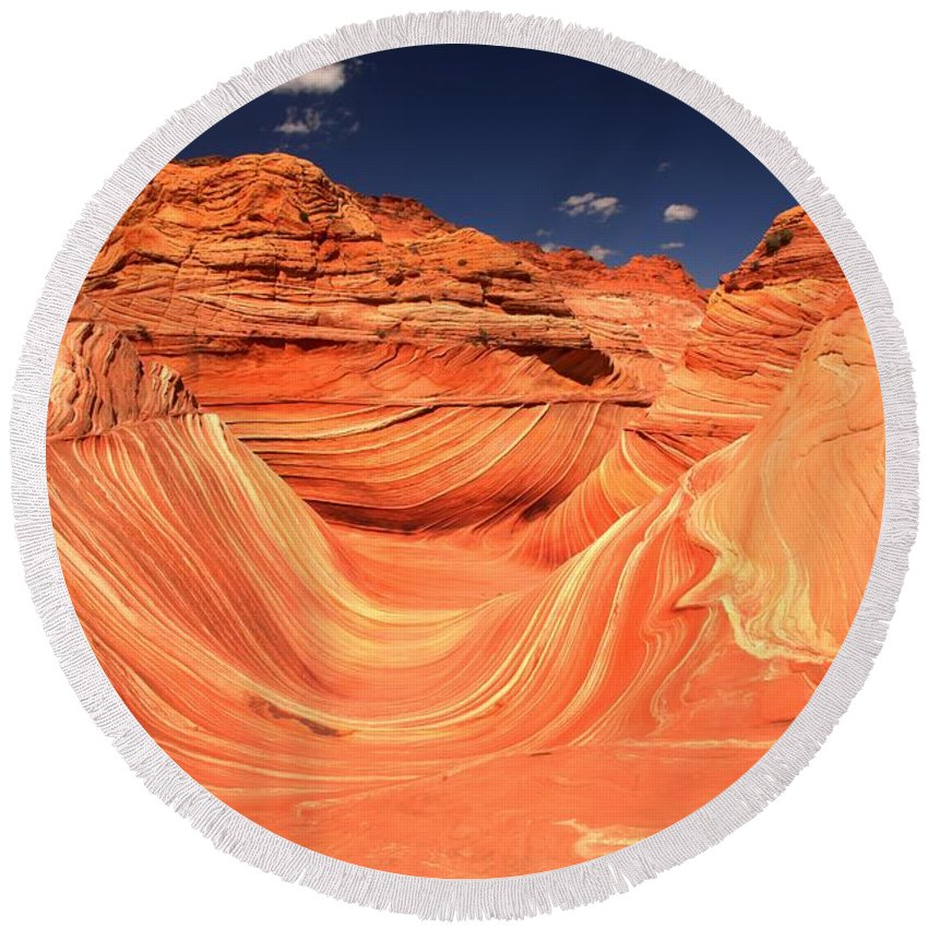 The Wave Round Beach Towel featuring the photograph Swirls And Buttes At The Wave by Adam Jewell
