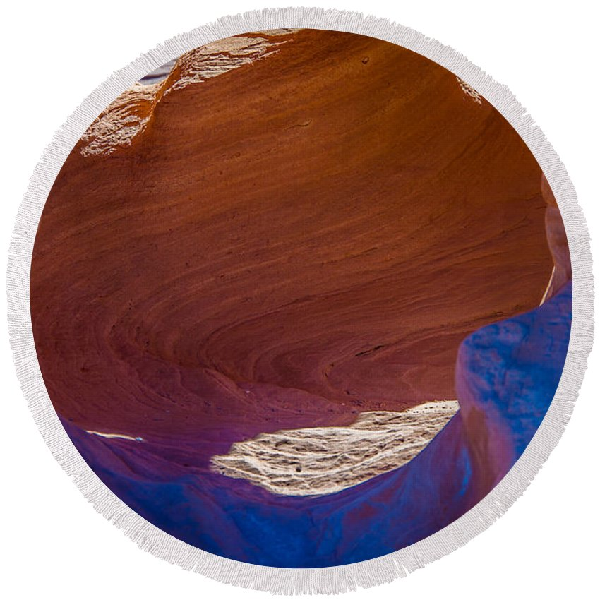 Valley Of Fire Round Beach Towel featuring the photograph Swirls by Stephen Whalen