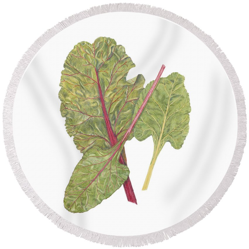 Swiss Chard Round Beach Towel featuring the painting Swiss Chard by Diane Inman