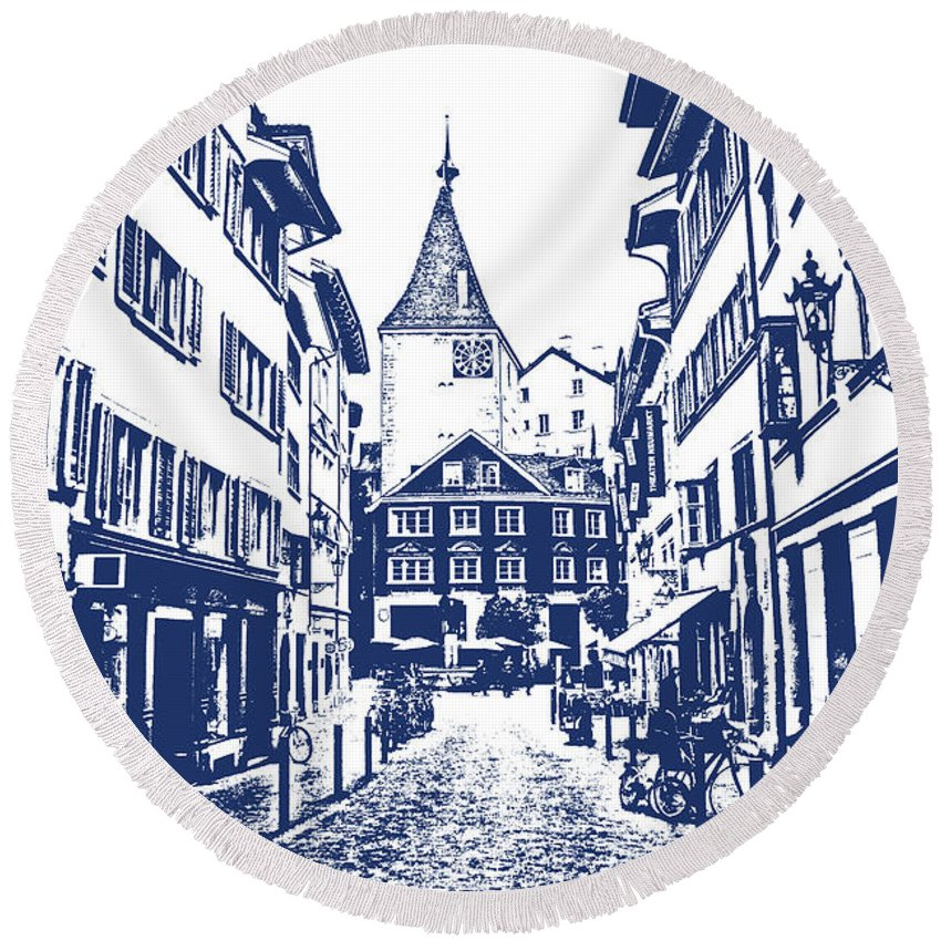 Buildings Round Beach Towel featuring the photograph Swiss Street by Lali Kacharava