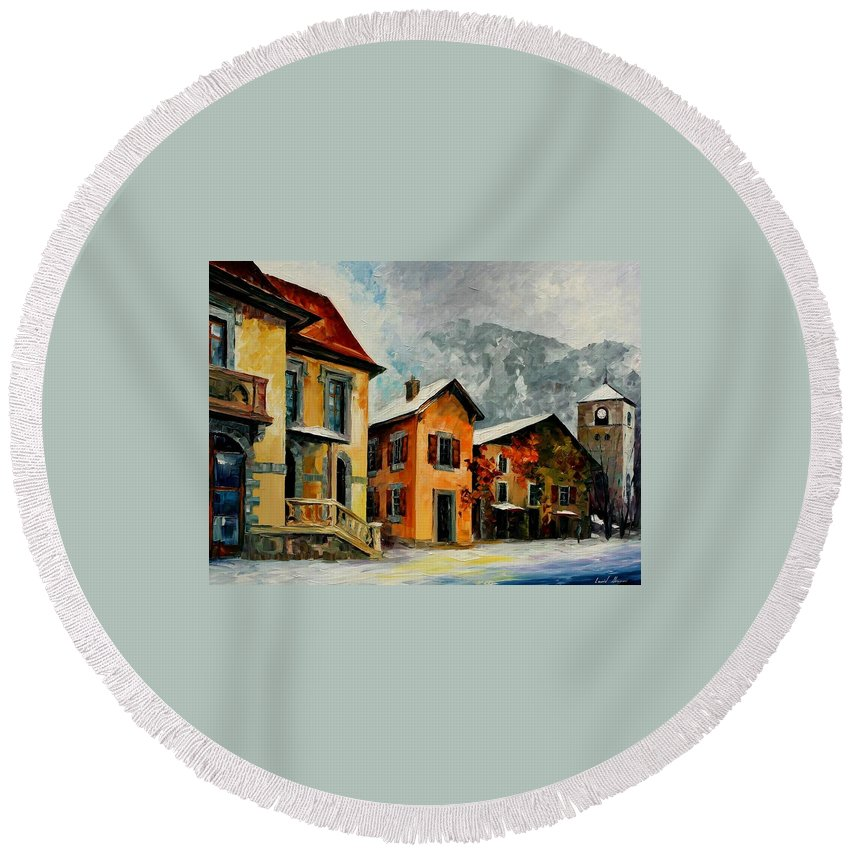 Afremov Round Beach Towel featuring the painting Switzerland - Town In The Alps by Leonid Afremov