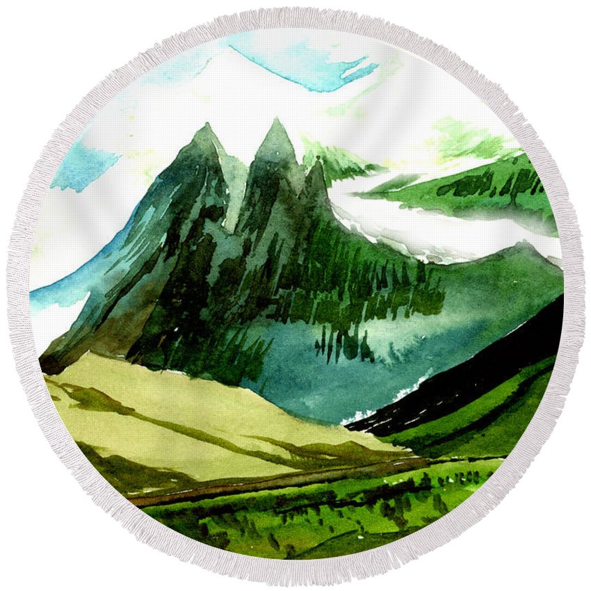 Landscape Round Beach Towel featuring the painting Switzerland by Anil Nene