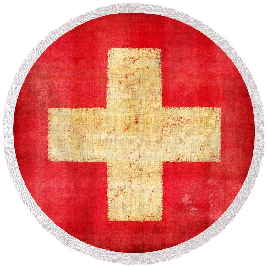 Abstract Round Beach Towel featuring the photograph Switzerland Flag by Setsiri Silapasuwanchai