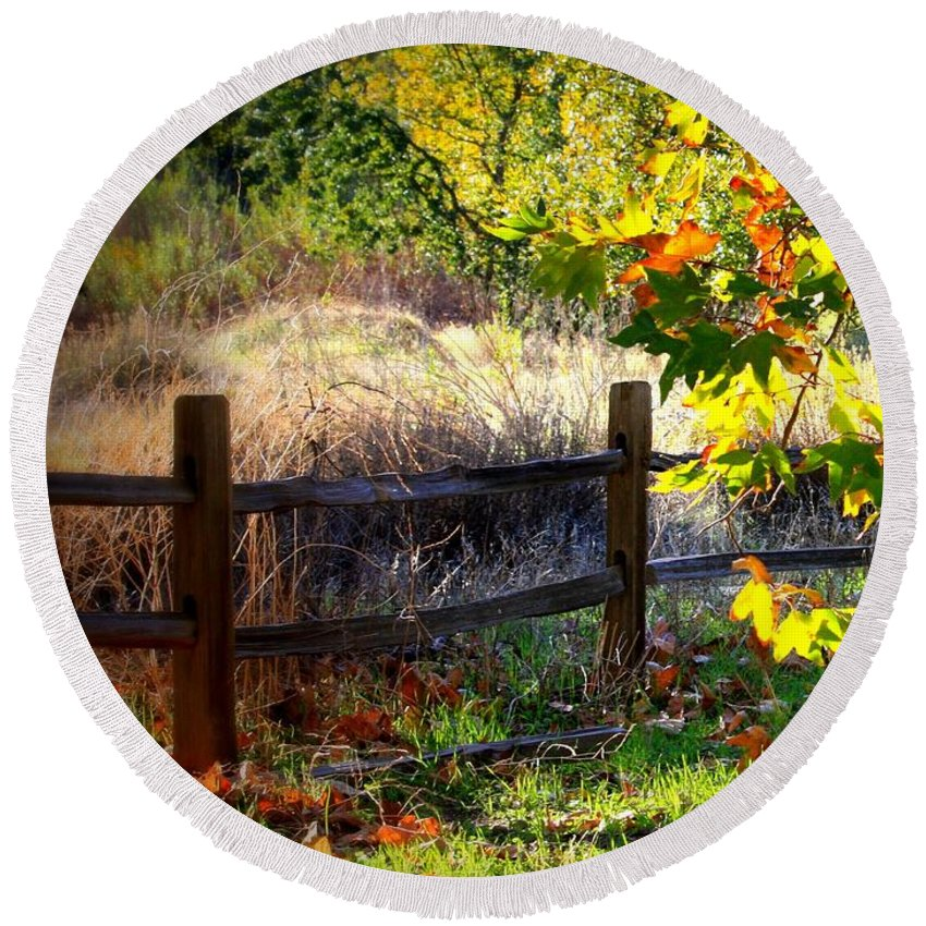 Fence Round Beach Towel featuring the photograph Sycamore Grove Fence 1 by Carol Groenen