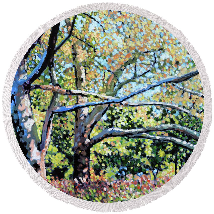 Sycamore Trees Round Beach Towel featuring the painting Sycamore Trees At The Zoo by John Lautermilch
