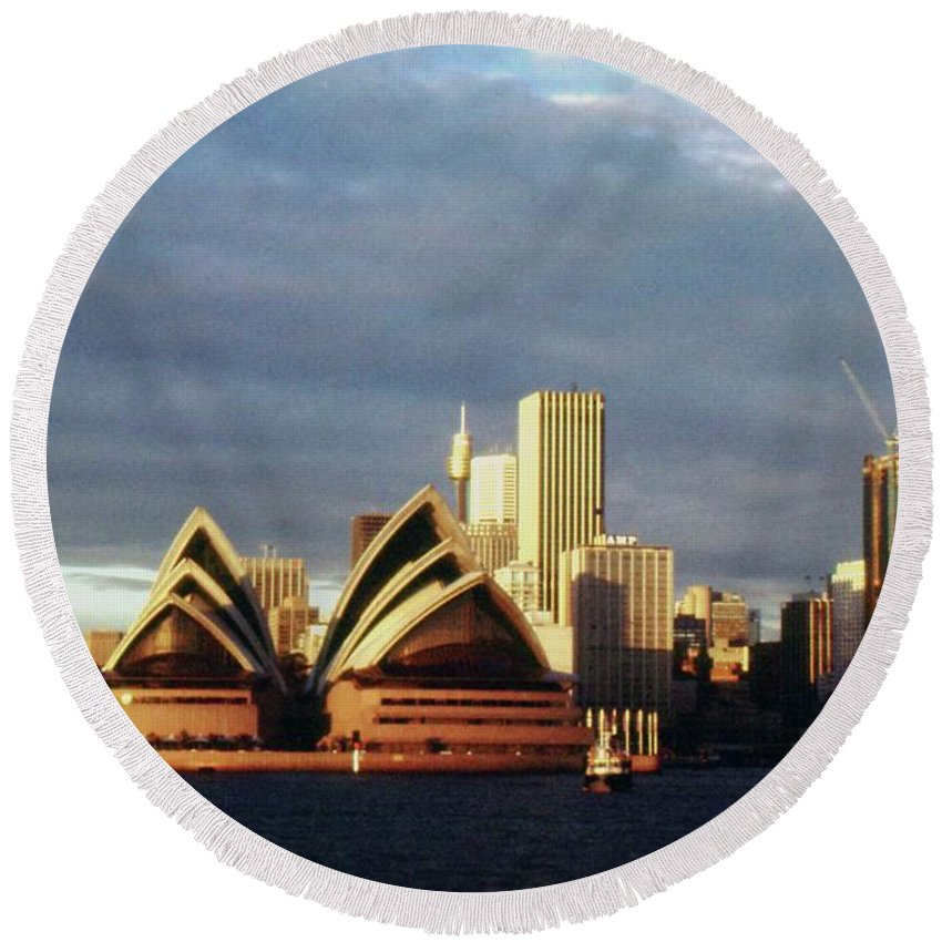Australia Round Beach Towel featuring the photograph Sydney At Sunset by Gary Wonning