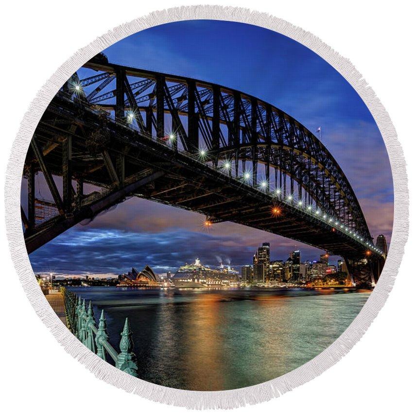 Blue Hour Round Beach Towel featuring the photograph Sydney Harbor Bridge by John Williams