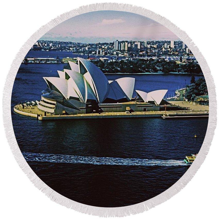 Australia Round Beach Towel featuring the photograph Sydney Opera House by Gary Wonning