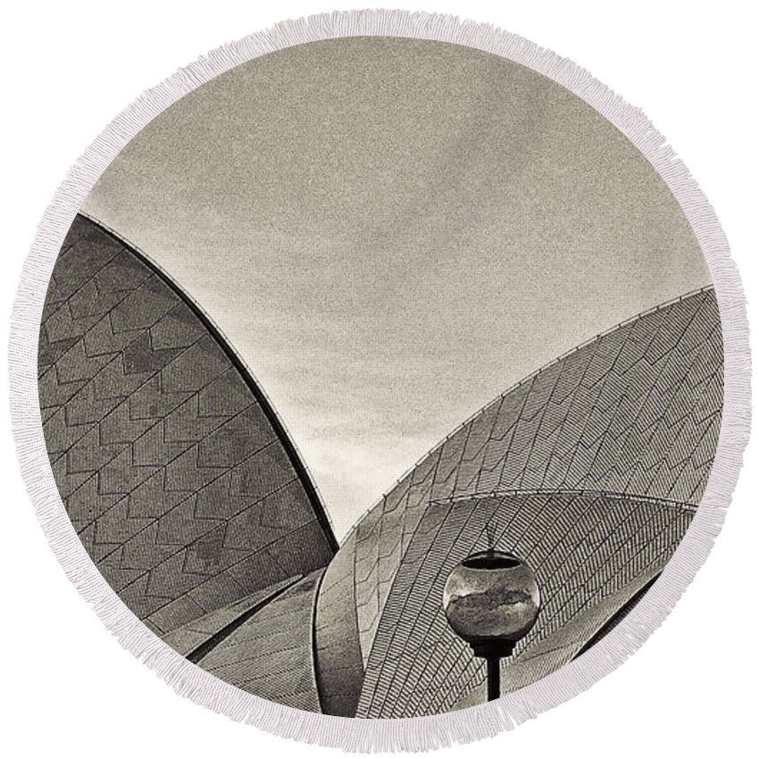 Sydney Round Beach Towel featuring the photograph Sydney Opera House Roof Detail by Roger Passman