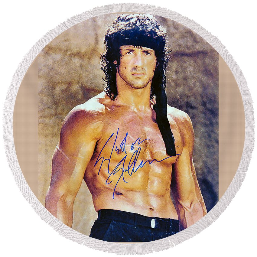 Sylvester Stallone Round Beach Towel featuring the digital art Sylvester Stallone by Studio Release