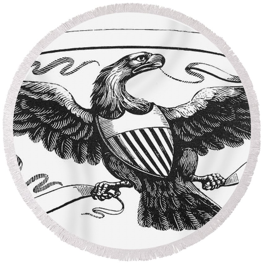 19th Century Round Beach Towel featuring the photograph Symbols: American Eagle by Granger