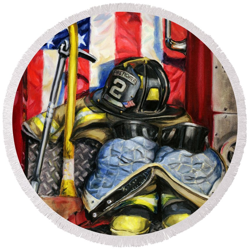 Firefighting Round Beach Towel featuring the painting Symbols Of Heroism by Paul Walsh