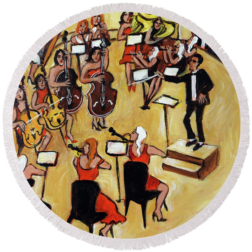 Carnegie Hall Orchestra Round Beach Towel featuring the painting Symphony by Valerie Vescovi