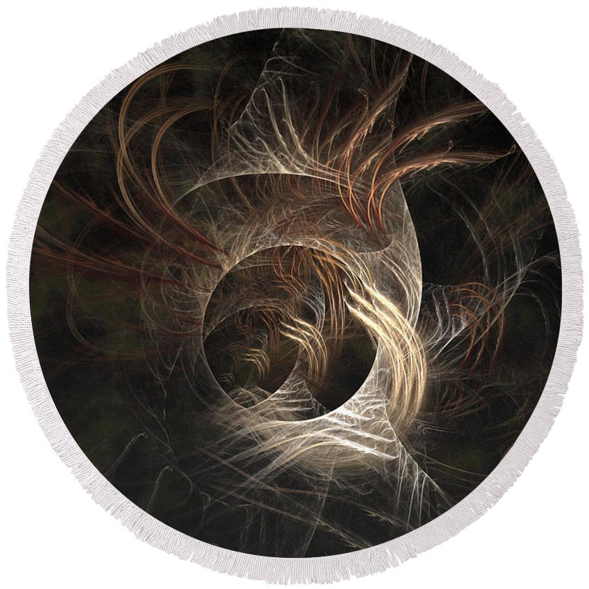 Abstract Round Beach Towel featuring the digital art Synaptic by Casey Kotas