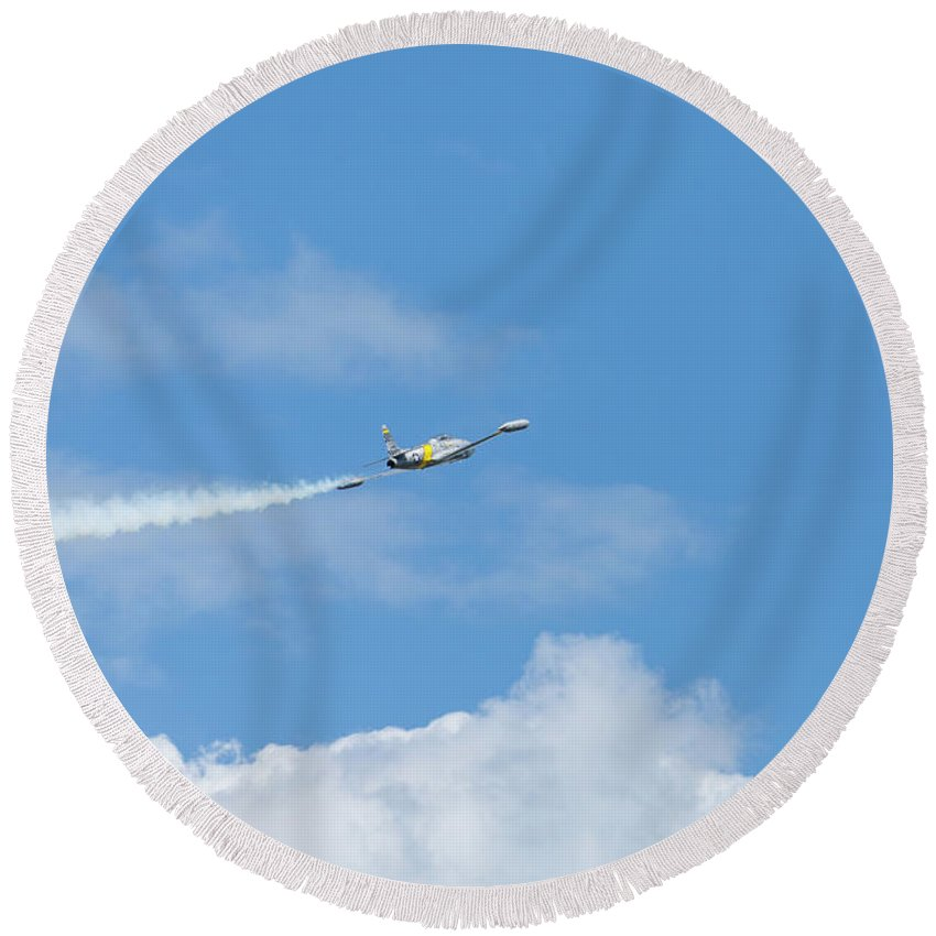 Acrobatics Round Beach Towel featuring the photograph T-33 Jet Airplane 5 by John Brueske
