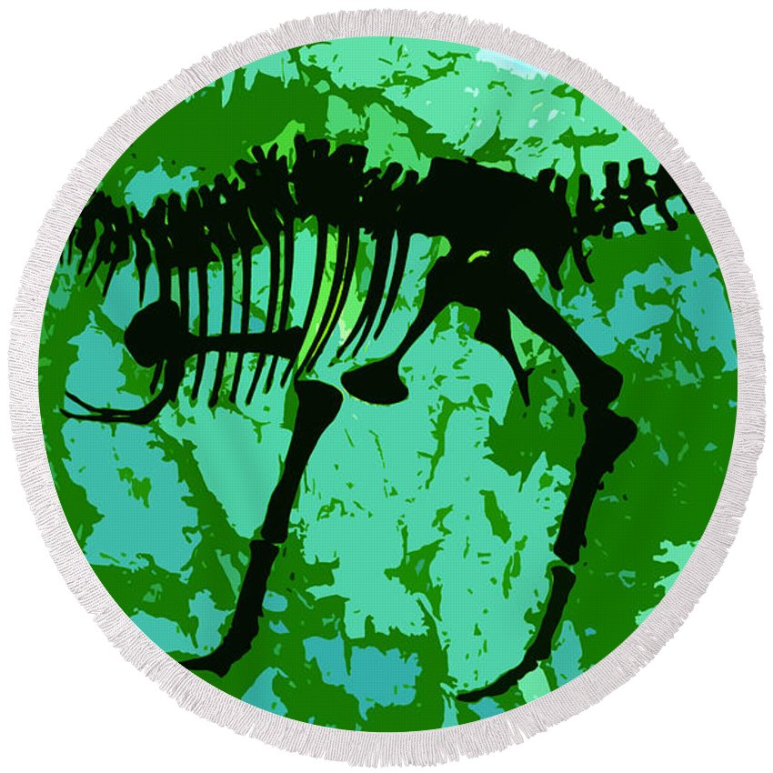 T Rex Round Beach Towel featuring the digital art T. Rex by David Lee Thompson