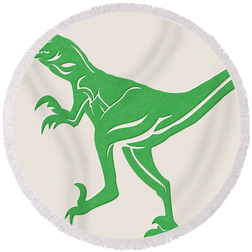 Dinosaur Round Beach Towel featuring the mixed media T-rex by Linda Woods