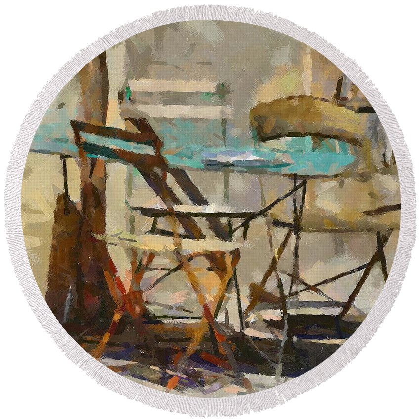 Cityscape Round Beach Towel featuring the painting Table Bleue Au Soleil by Dragica Micki Fortuna