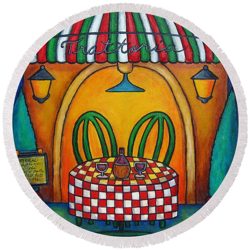Table Round Beach Towel featuring the painting Table for Two at the Trattoria, Italy by Lisa Lorenz