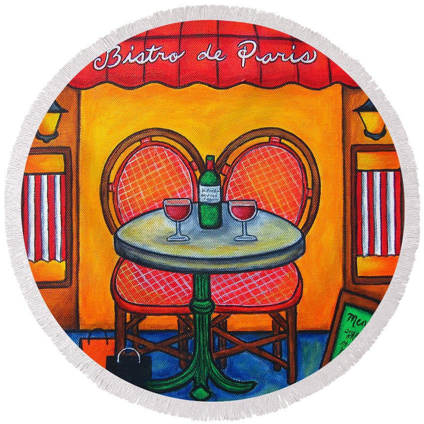 Paris Round Beach Towel featuring the painting Table For Two In Paris by Lisa Lorenz