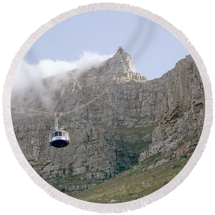 Cape Town Round Beach Towel featuring the photograph Table Mountain Cable Car by Shaun Higson