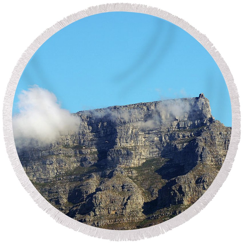 Africa Round Beach Towel featuring the photograph Table Mountain - Still Life With Blue Sky And One Cloud by Harvey Barrison