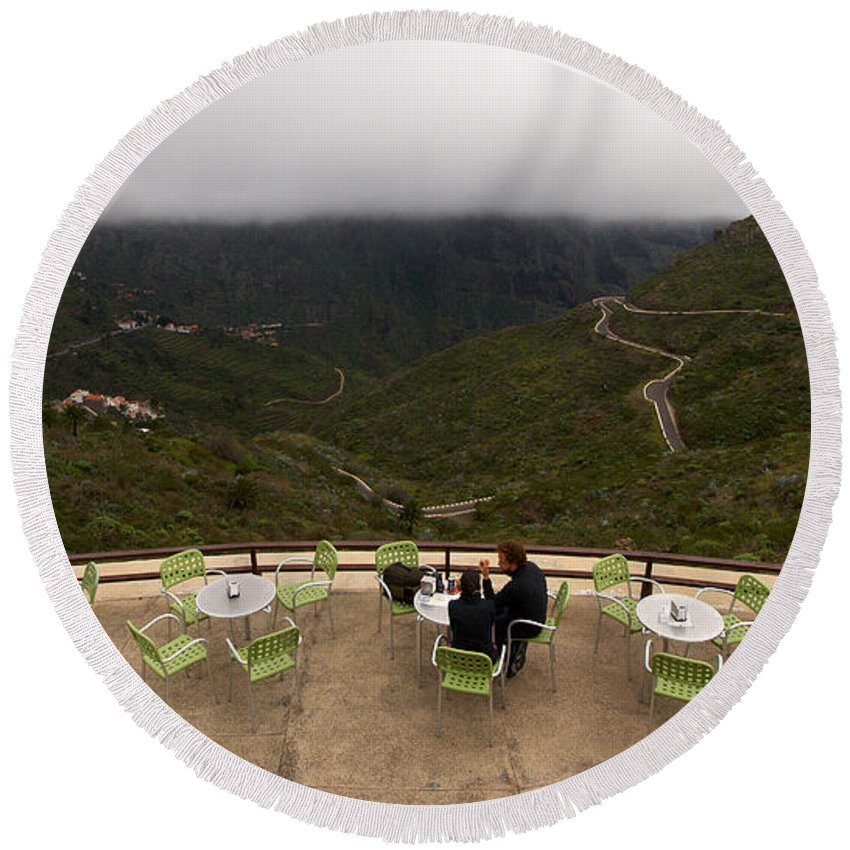 Landscape Round Beach Towel featuring the photograph Table With A View by Jouko Lehto