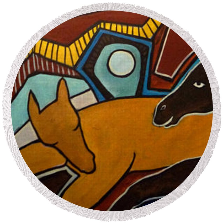 Horse Abstract Round Beach Towel featuring the painting Taffy Horses by Valerie Vescovi