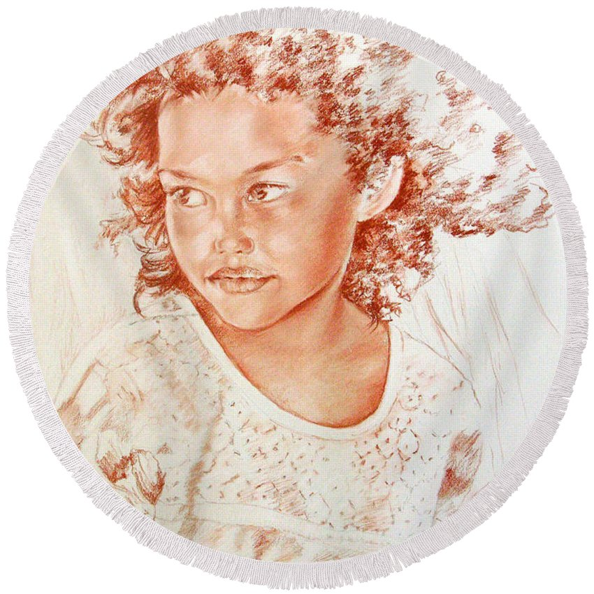 Drawing Persons Round Beach Towel featuring the painting Tahitian Girl by Miki De Goodaboom