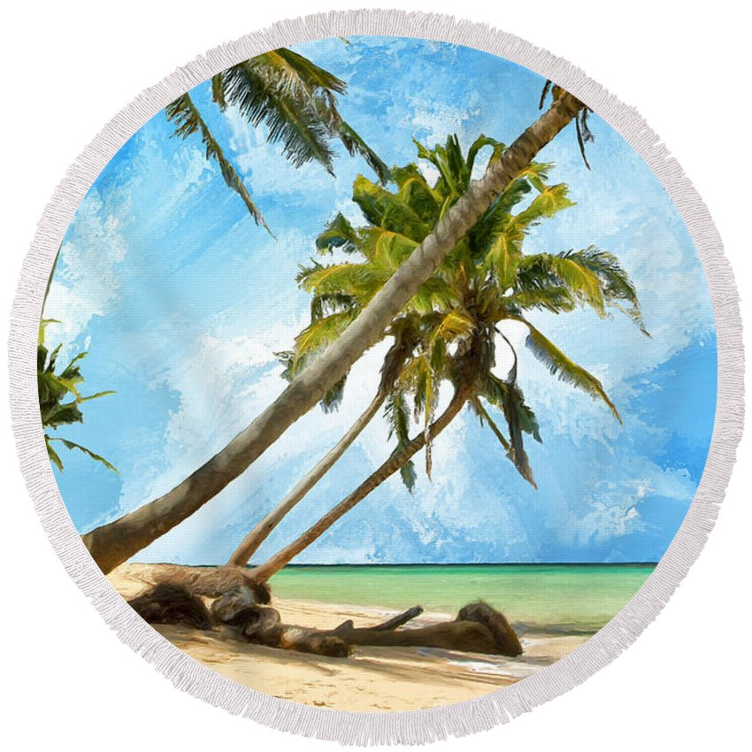 Tahitian Idyll Round Beach Towel featuring the painting Tahitian Idyll by Dominic Piperata