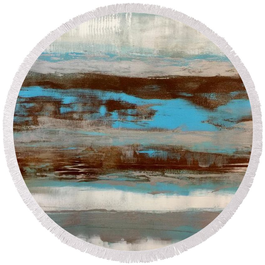 Abstract Art Round Beach Towel featuring the painting Tahlequah by Dawn Bearden