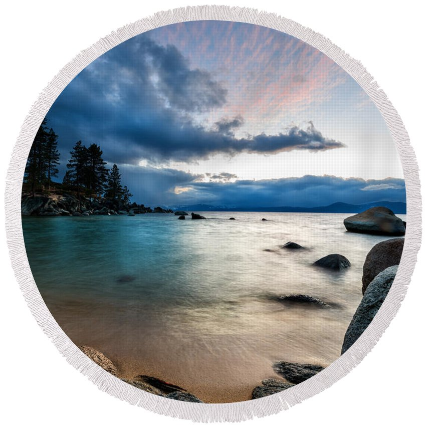 Lake Tahoe Round Beach Towel featuring the photograph Tahoe Bursting Clouds by Dianne Phelps