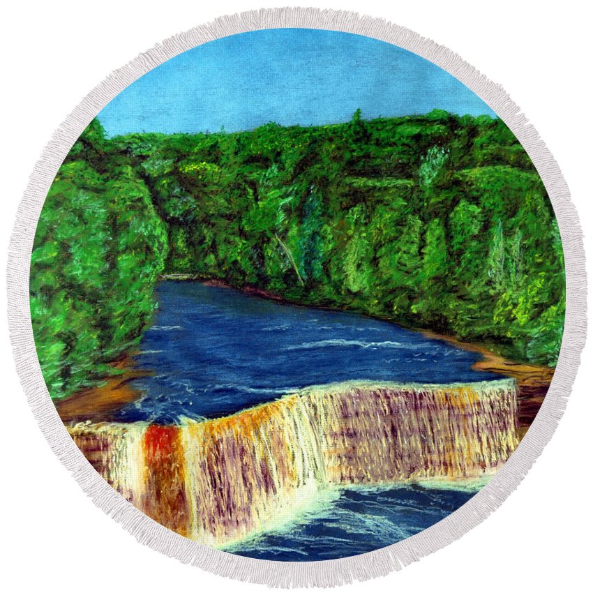 Tahquamenon Round Beach Towel featuring the pastel Tahquamenon Falls by Walter Idema