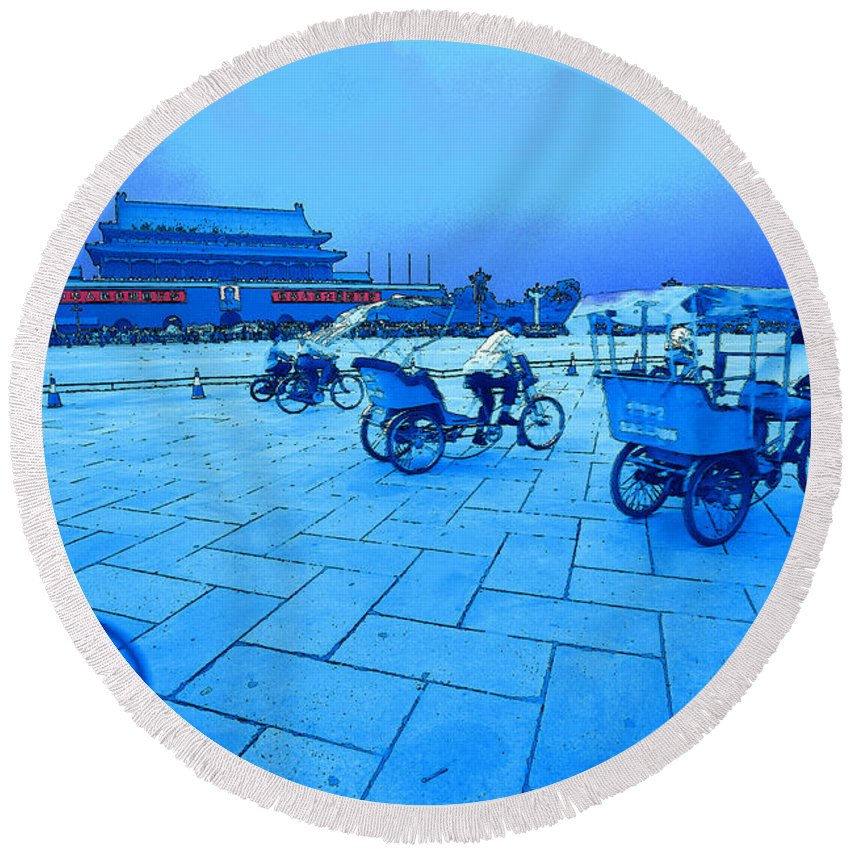 Prc Round Beach Towel featuring the photograph Tainanmen Trikes by Steven Hlavac