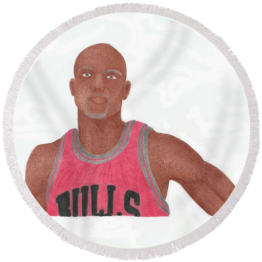 Basketball Round Beach Towel featuring the drawing Taj Gibson by Toni Jaso