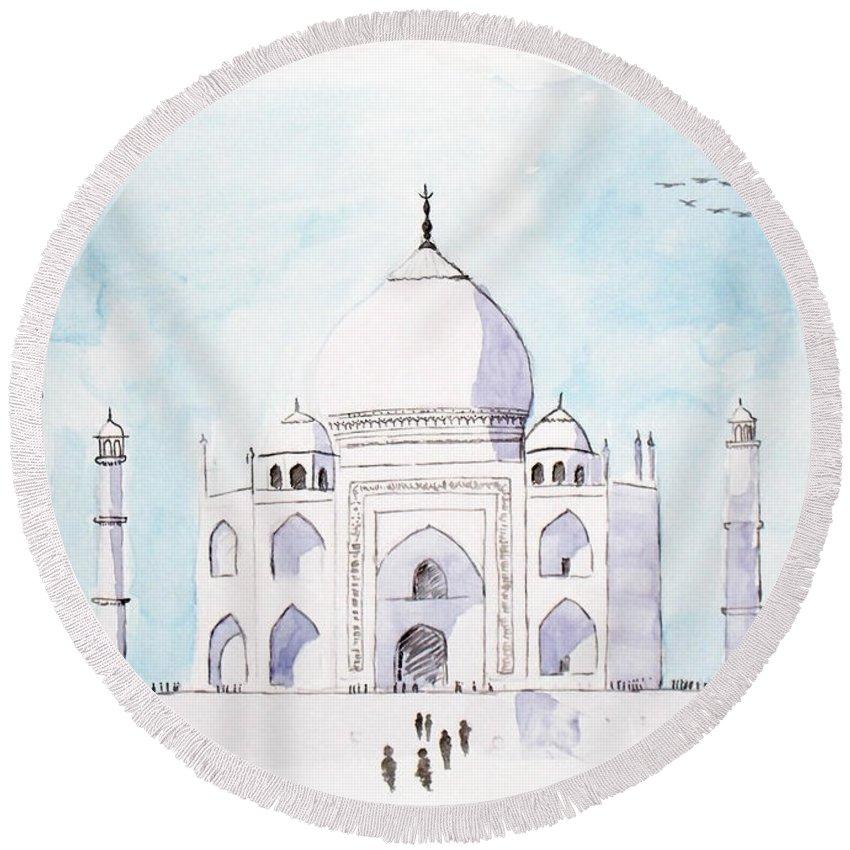 Watercolor Round Beach Towel featuring the painting Taj Mahal by Keshava Shukla