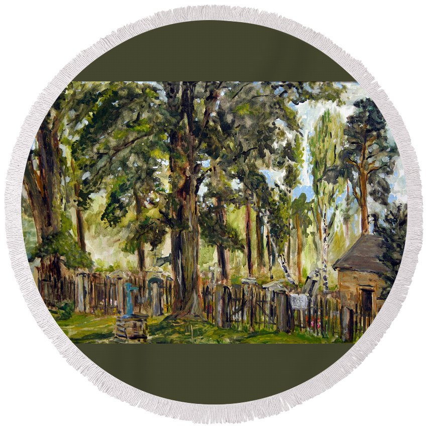 Landscape Round Beach Towel featuring the painting Tajny Hrbitov by Pablo de Choros