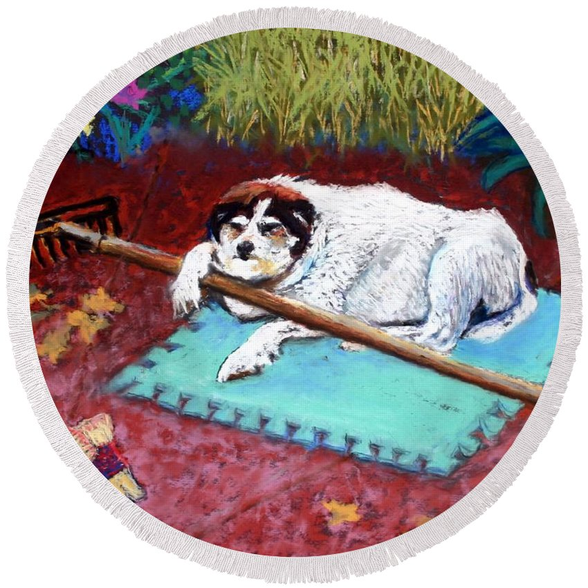 Dog Round Beach Towel featuring the painting Take A Break by Minaz Jantz