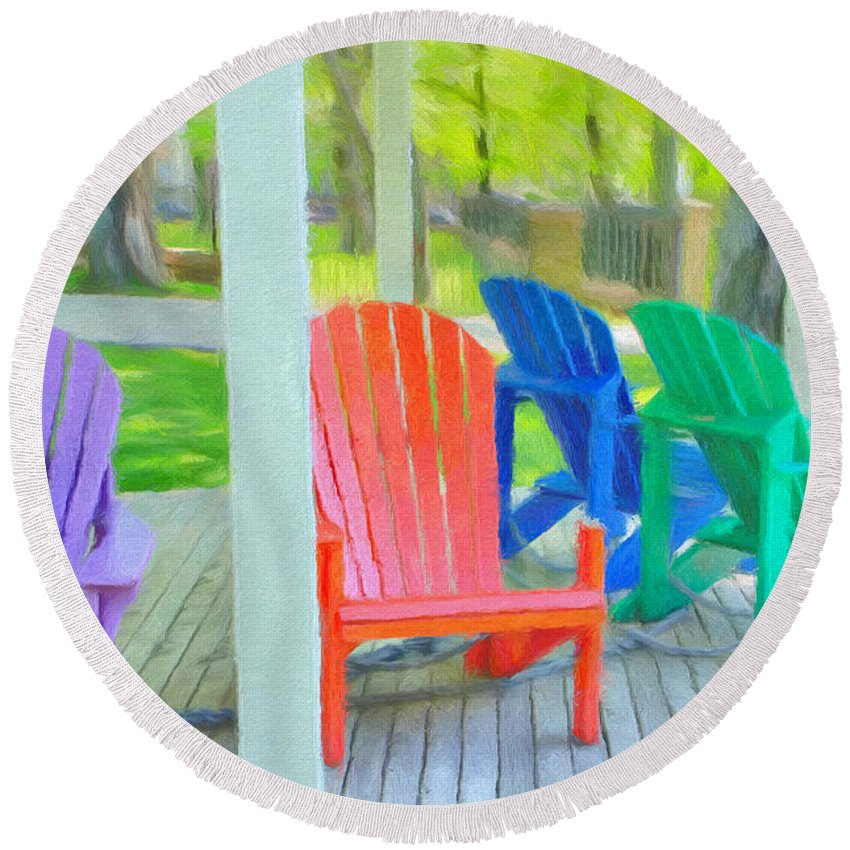Halifax Round Beach Towel featuring the painting Take A Seat But Don't Take A Chair by Jeffrey Kolker