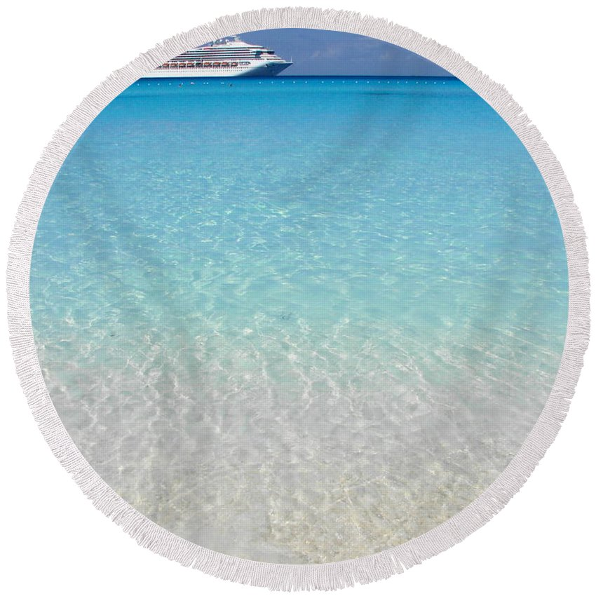 Caribbean Cruise Round Beach Towel featuring the photograph Take Me Back To Half Moon Cay by Margaret Bobb