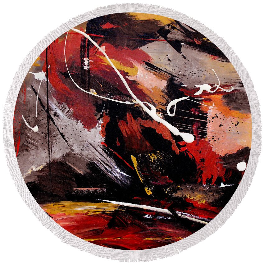 Abstract Round Beach Towel featuring the painting Take To Heart by Ruth Palmer