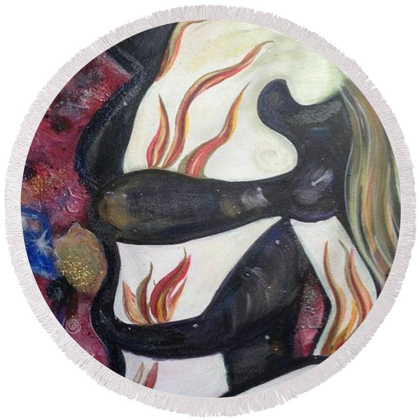 Fire Round Beach Towel featuring the painting Taken By The Wind by Tracy McDurmon