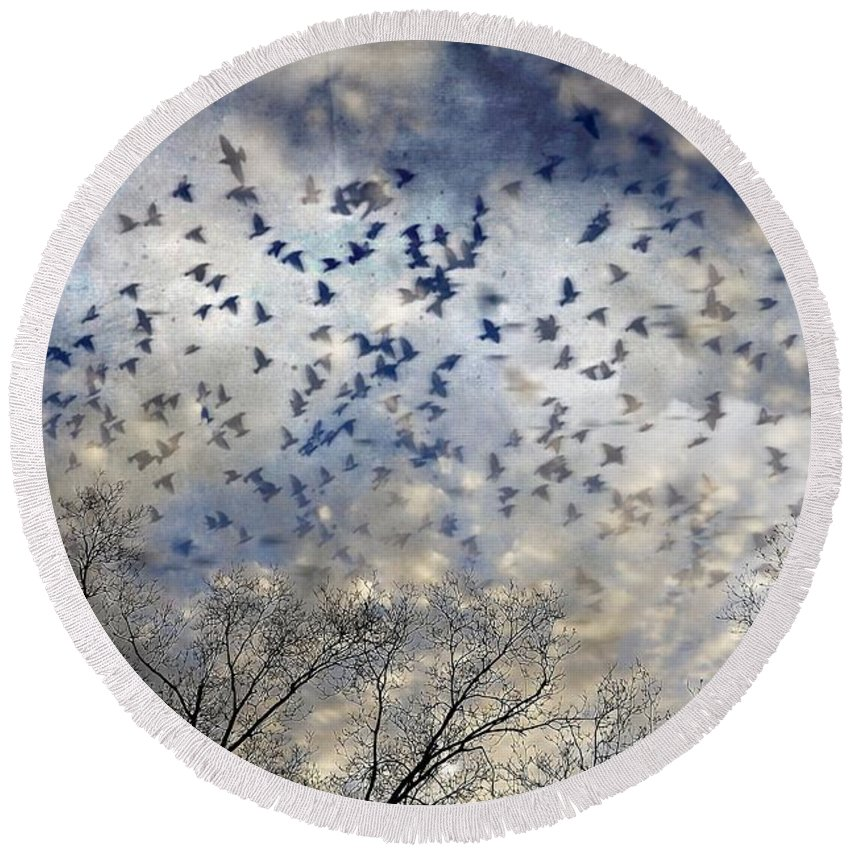 Skyscapes Round Beach Towel featuring the photograph Taken Flight by Jan Amiss Photography