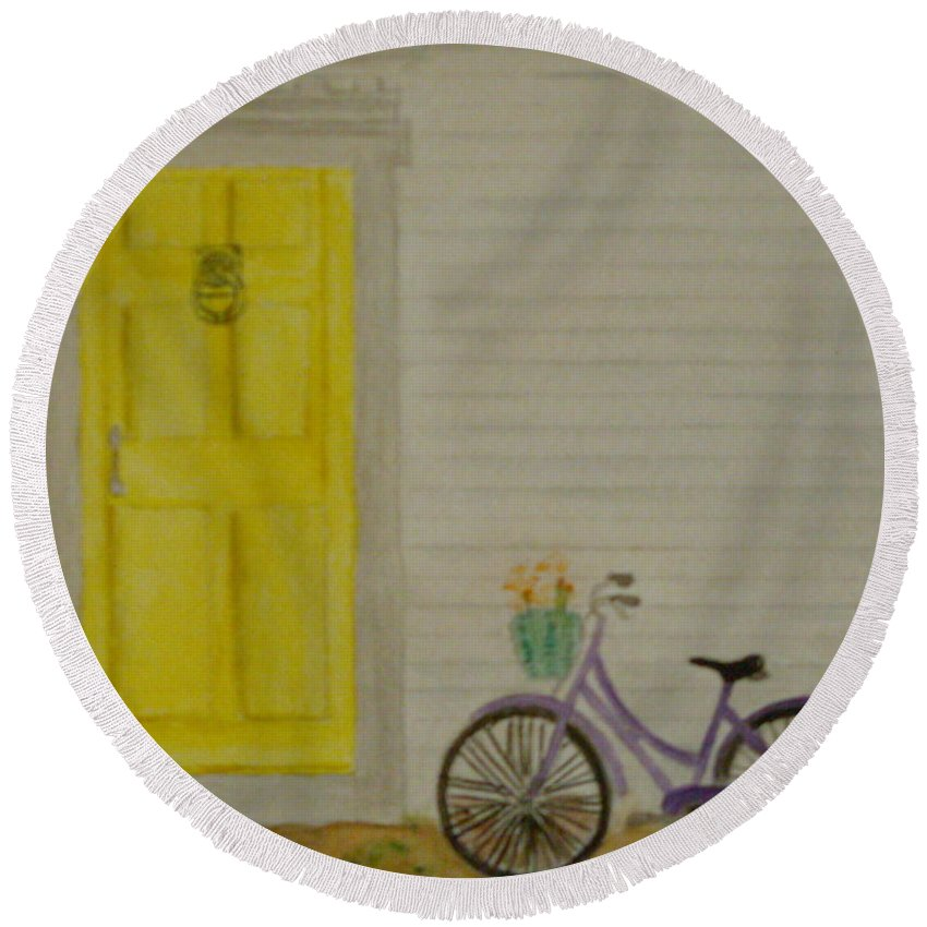 Bike Vintage Bicycle Flowers Basket House Home Vacation Door Knocker Yellow Cedar Siding Molding Purple Seaside Cape Cod Round Beach Towel featuring the painting Taking A Break by Colleen Casner