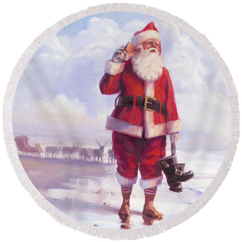 Christmas Round Beach Towel featuring the painting Taking a Break by Steve Henderson