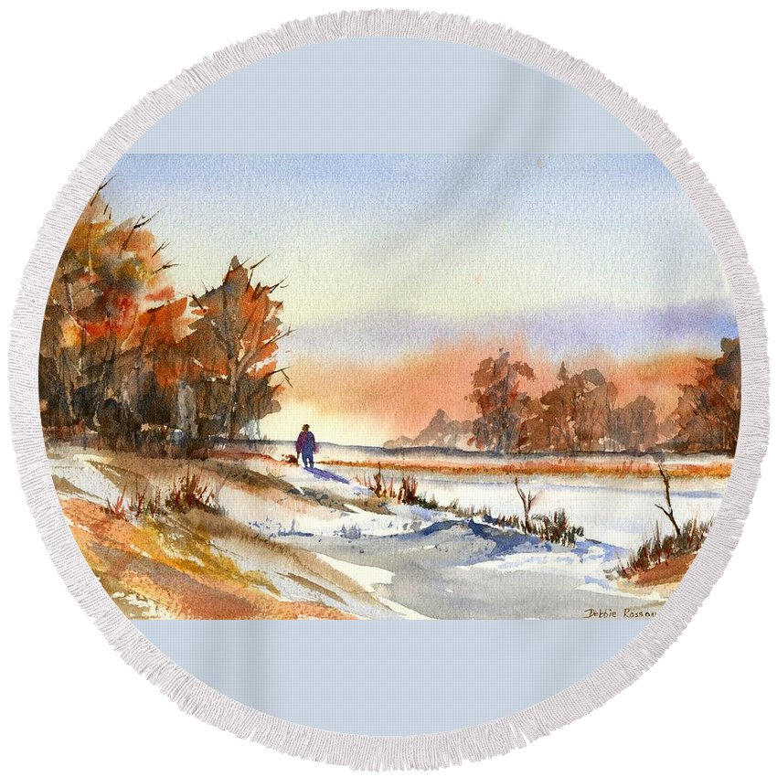 Peaceful Round Beach Towel featuring the painting Taking A Walk by Debbie Lewis