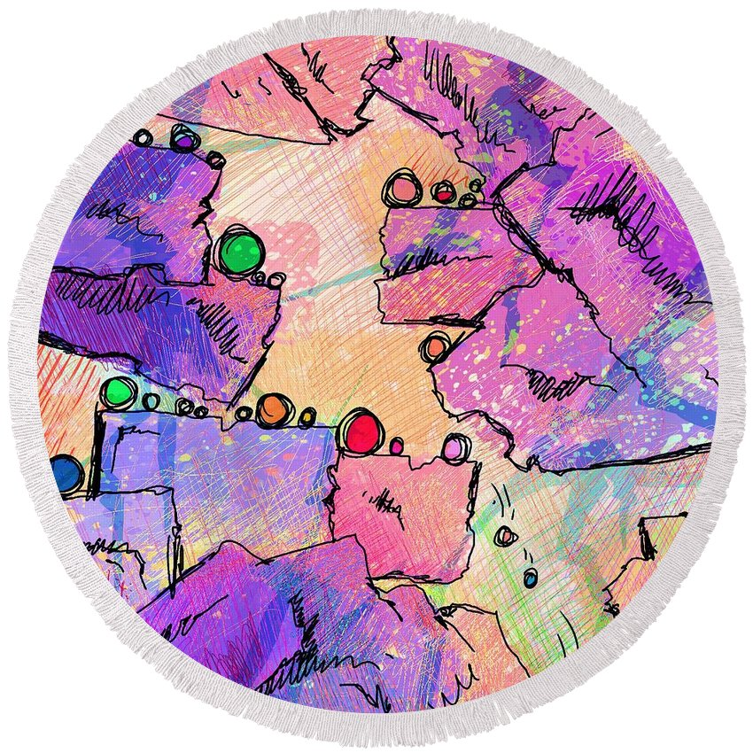 Abstract Round Beach Towel featuring the digital art Taking Turns by Rachel Christine Nowicki