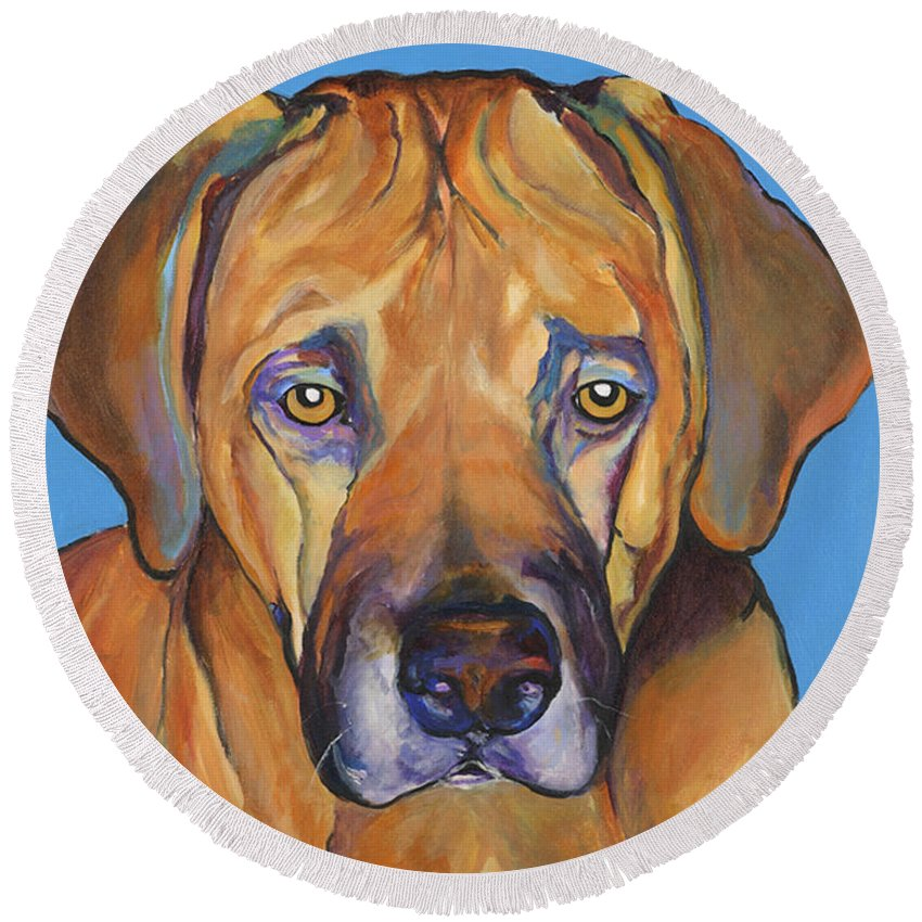 Rhodesian Ridgeback Dog Ridgeback African Colorful Orange Gold Yellow Red Round Beach Towel featuring the painting Talen by Pat Saunders-White